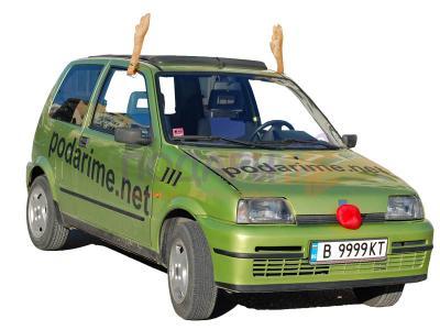 Коледни рога и нос на елен за автомобил