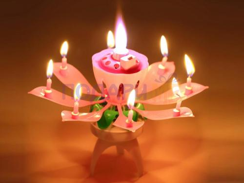 Музикална свещ за рожден ден - лотос