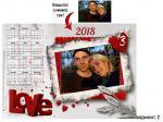 Еднолистов календар с колаж за влюбени вариант 2