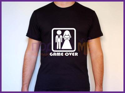 Мъжка тениска за ергенско парти - Game Over