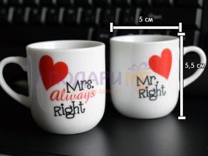 Комплект мини чашки за влюбени