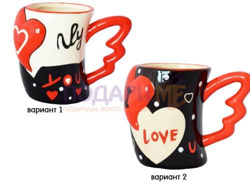 Керамична чаша с дръжка крило