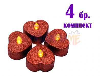 Комплект 4 бр LED свещи във формата на сърц…