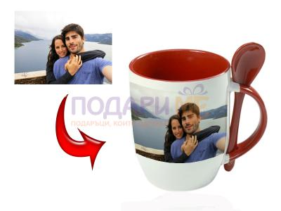 Чаша с лъжичка с Ваша снимка или надпис