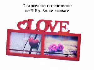 Рамка с 2 снимки и надпис Love