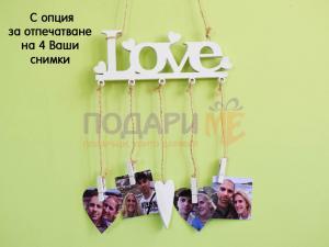 Дървена табела Love
